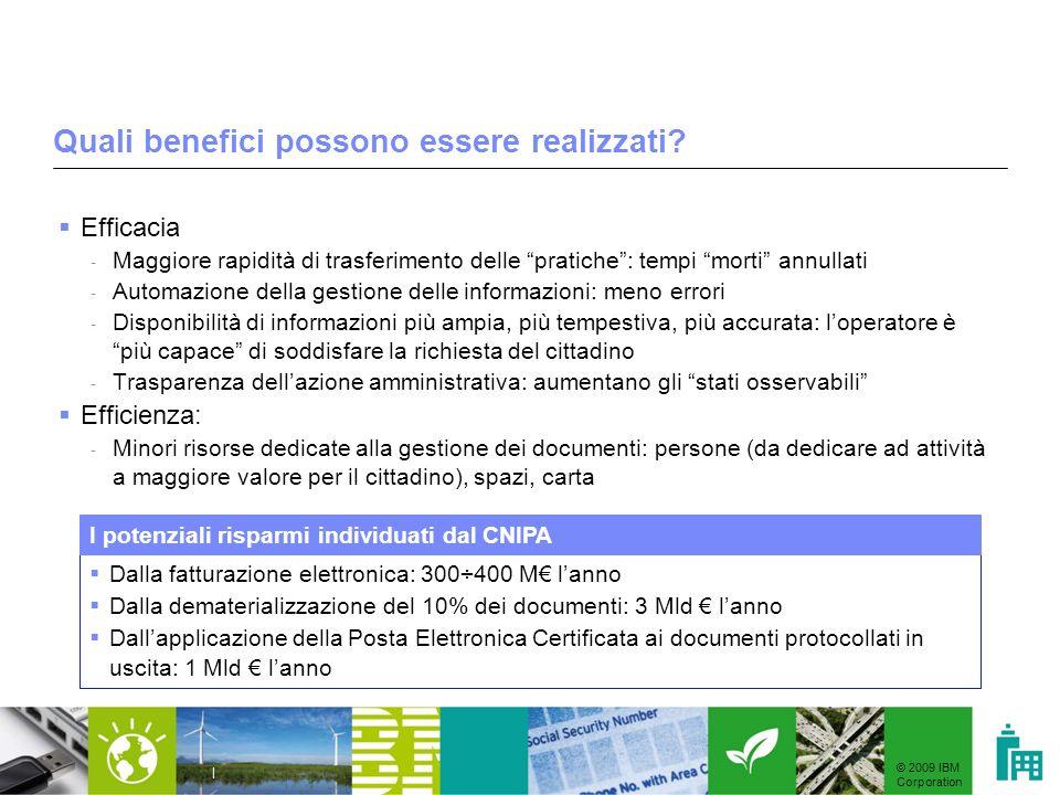 © 2009 IBM Corporation | Quali benefici possono essere realizzati? Efficacia - Maggiore rapidità di trasferimento delle pratiche: tempi morti annullat