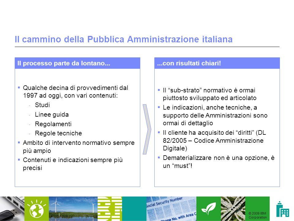 © 2009 IBM Corporation | Il cammino della Pubblica Amministrazione italiana Qualche decina di provvedimenti dal 1997 ad oggi, con vari contenuti: - St