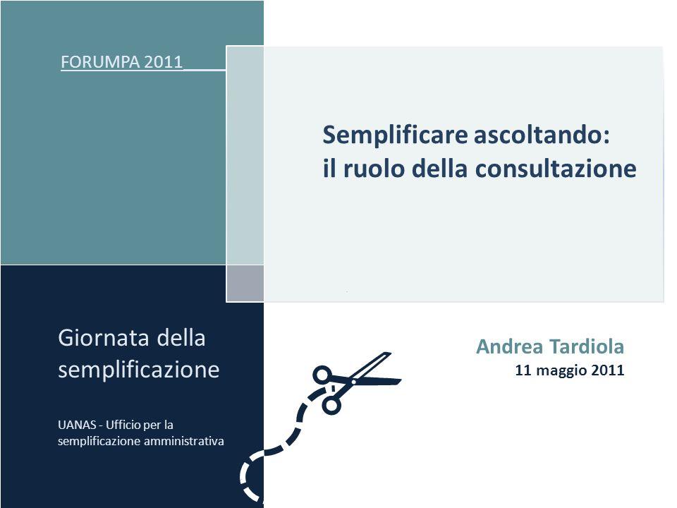 Semplificare ascoltando: il ruolo della consultazione FORUMPA 2011 _____ Giornata della semplificazione UANAS - Ufficio per la semplificazione amminis