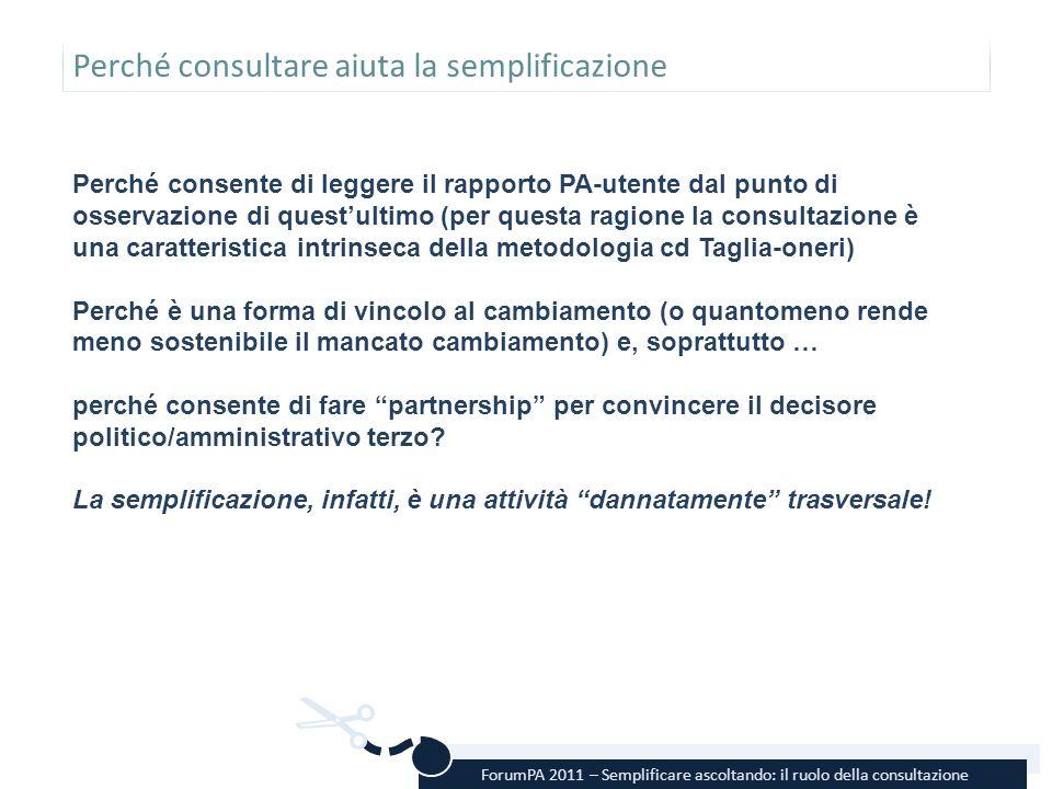 ForumPA 2011 – Semplificare ascoltando: il ruolo della consultazione Perché consultare aiuta la semplificazione Perché consente di leggere il rapporto