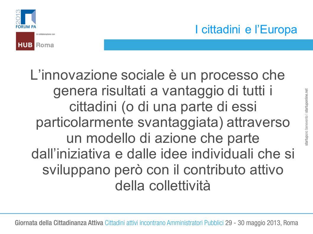 I cittadini e lEuropa Linnovazione sociale è un processo che genera risultati a vantaggio di tutti i cittadini (o di una parte di essi particolarmente