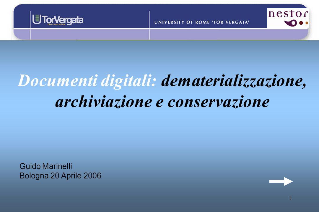 1 Documenti digitali: dematerializzazione, archiviazione e conservazione Guido Marinelli Bologna 20 Aprile 2006