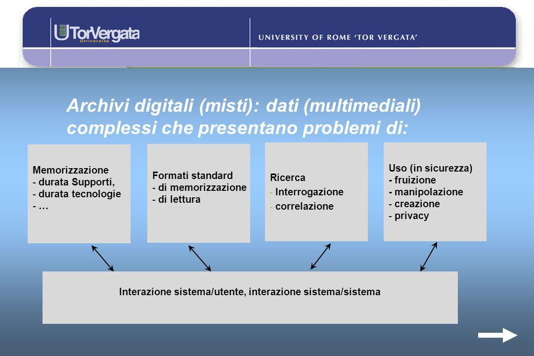 Archivi digitali (misti): dati (multimediali) complessi che presentano problemi di: Memorizzazione - durata Supporti, - durata tecnologie - … Ricerca