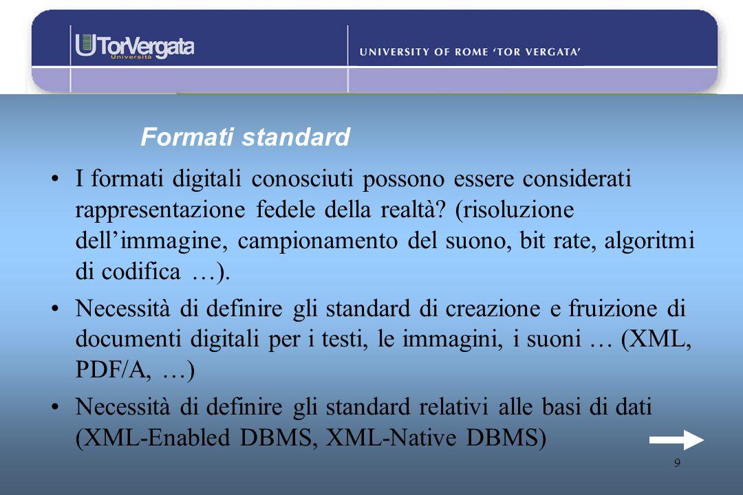 9 Formati standard I formati digitali conosciuti possono essere considerati rappresentazione fedele della realtà? (risoluzione dellimmagine, campionam
