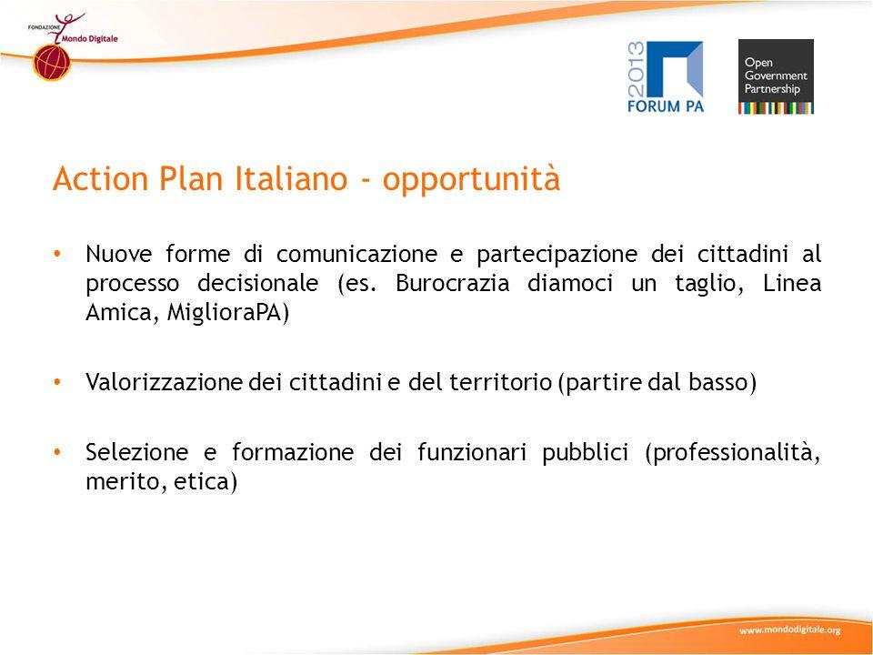 Action Plan Italiano - opportunità Nuove forme di comunicazione e partecipazione dei cittadini al processo decisionale (es.