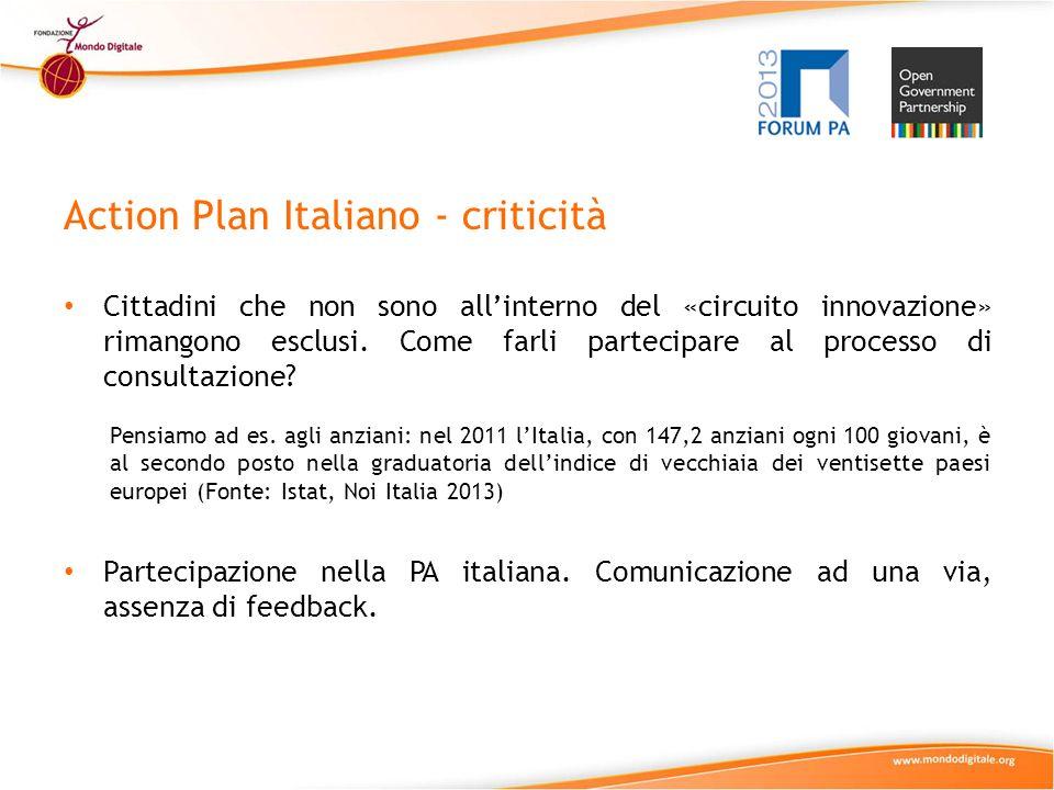 Action Plan Italiano - criticità Cittadini che non sono allinterno del «circuito innovazione» rimangono esclusi.