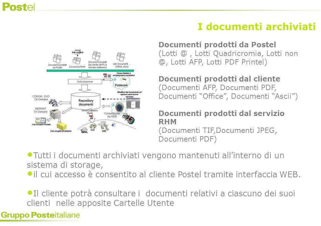 Tutti i documenti archiviati vengono mantenuti allinterno di un sistema di storage, il cui accesso è consentito al cliente Postel tramite interfaccia WEB.