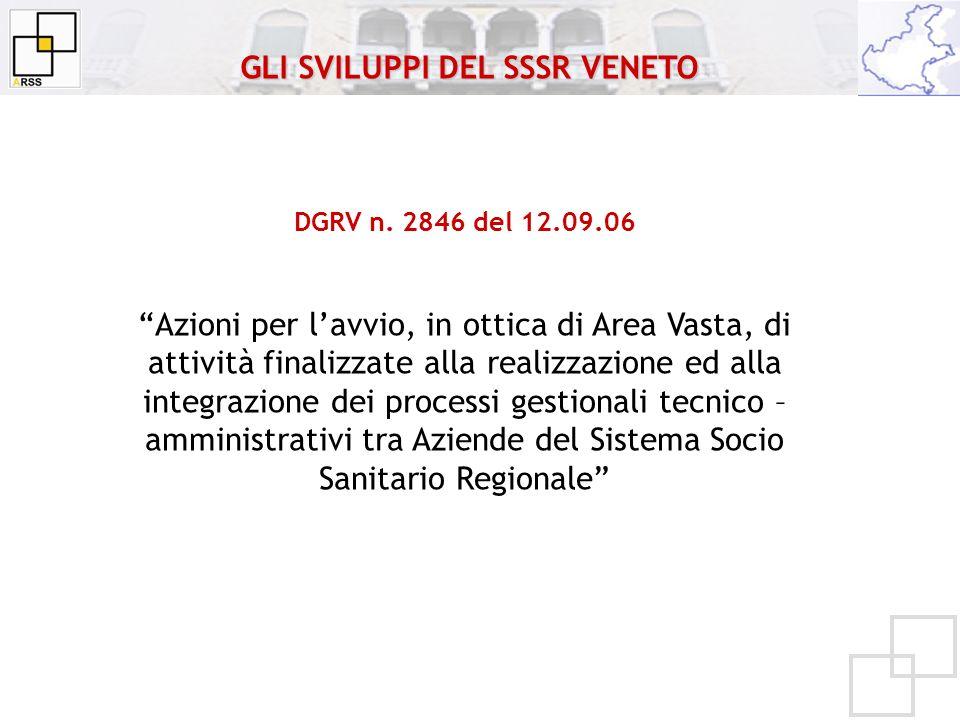 DGRV n. 2846 del 12.09.06 Azioni per lavvio, in ottica di Area Vasta, di attività finalizzate alla realizzazione ed alla integrazione dei processi ges