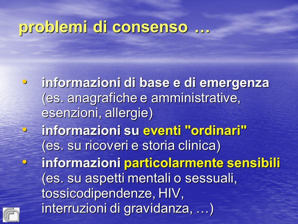problemi di consenso … informazioni di base e di emergenza (es.