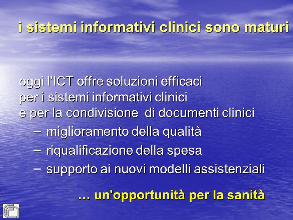 i sistemi informativi clinici sono maturi oggi l ICT offre soluzioni efficaci per i sistemi informativi clinici e per la condivisione di documenti clinici – miglioramento della qualità – riqualificazione della spesa – supporto ai nuovi modelli assistenziali … un opportunità per la sanità