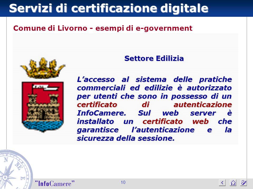 Servizi di certificazione digitale 10 Comune di Livorno - esempi di e-government Settore Edilizia Laccesso al sistema delle pratiche commerciali ed edilizie è autorizzato per utenti che sono in possesso di un certificato di autenticazione InfoCamere.