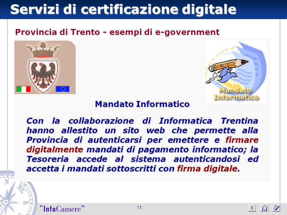 Servizi di certificazione digitale 11 Provincia di Trento - esempi di e-government Mandato Informatico Con la collaborazione di Informatica Trentina h