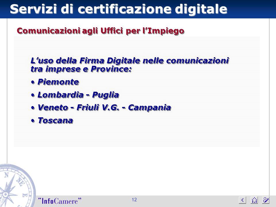 Servizi di certificazione digitale 12 Comunicazioni agli Uffici per lImpiego Luso della Firma Digitale nelle comunicazioni tra imprese e Province: Piemonte Lombardia - Puglia Veneto - Friuli V.G.