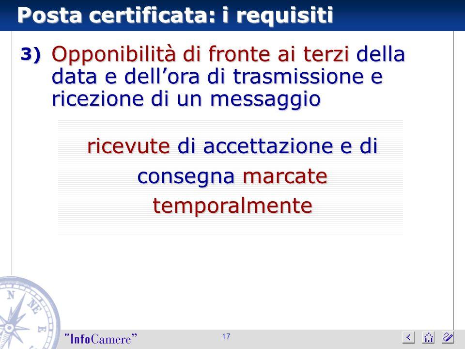 Posta certificata: i requisiti 17 Opponibilità di fronte ai terzi della data e dellora di trasmissione e ricezione di un messaggio 3) ricevute di acce