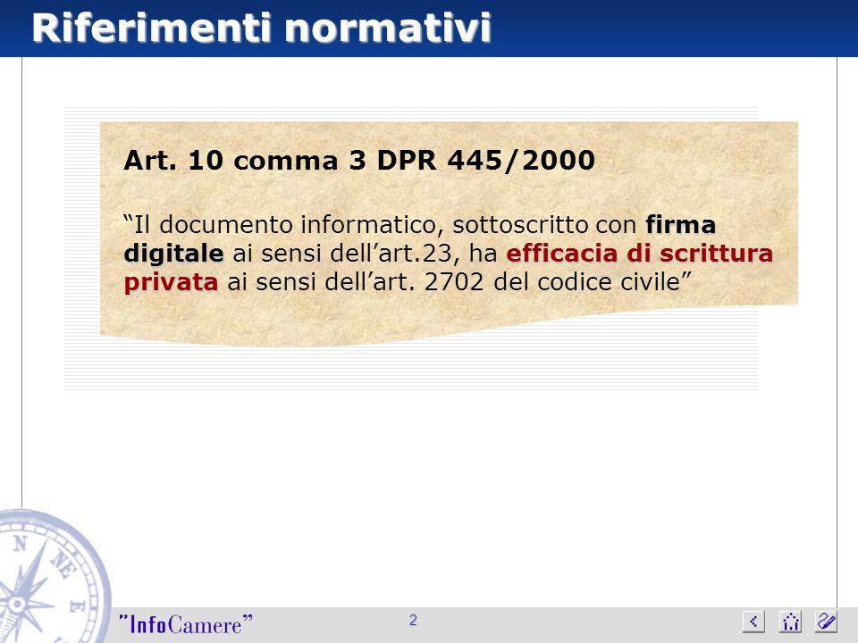 Riferimenti normativi 2 Art. 10 comma 3 DPR 445/2000 firma digitaleefficacia di scrittura privata Il documento informatico, sottoscritto con firma dig