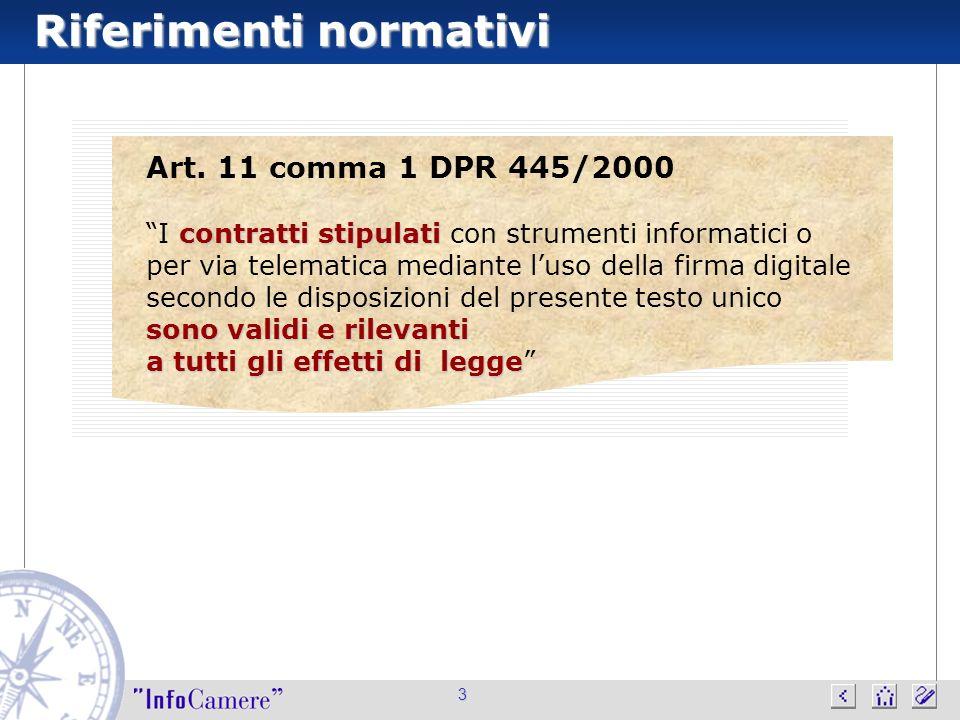 Riferimenti normativi 3 Art. 11 comma 1 DPR 445/2000 contratti stipulati sono validi e rilevanti I contratti stipulati con strumenti informatici o per