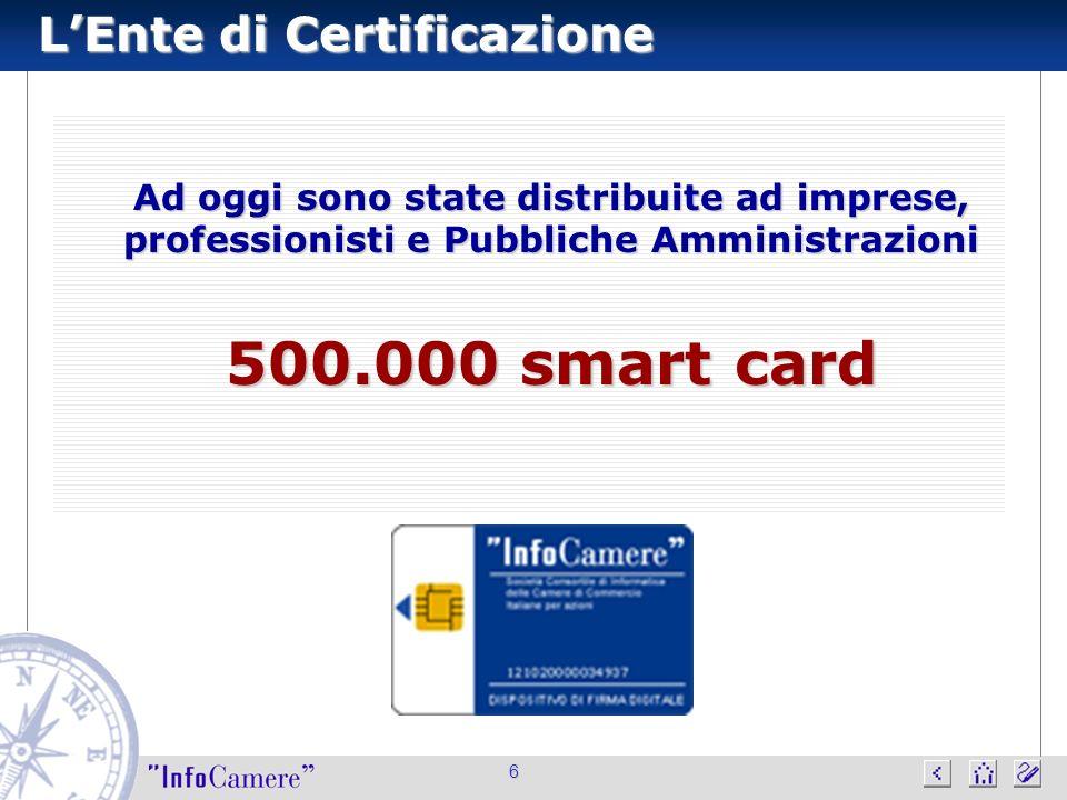 LEnte di Certificazione 6 Ad oggi sono state distribuite ad imprese, professionisti e Pubbliche Amministrazioni 500.000 smart card