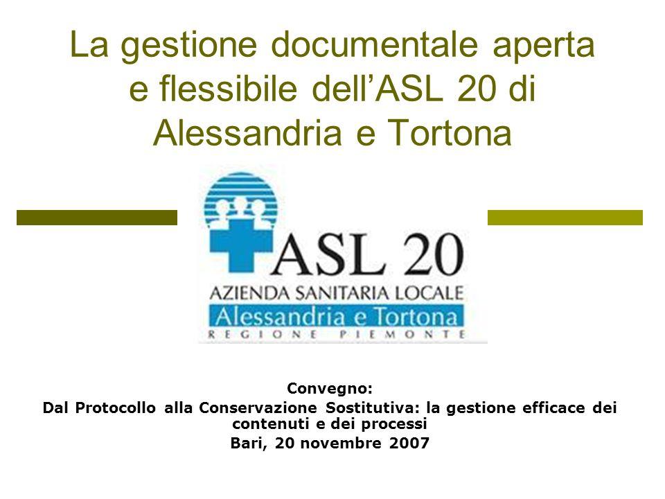 Profilo dellASL 20 67 comuni 2 distretti 2 presidi ospedalieri 1.200 dipendenti Circa 180.000 utenti