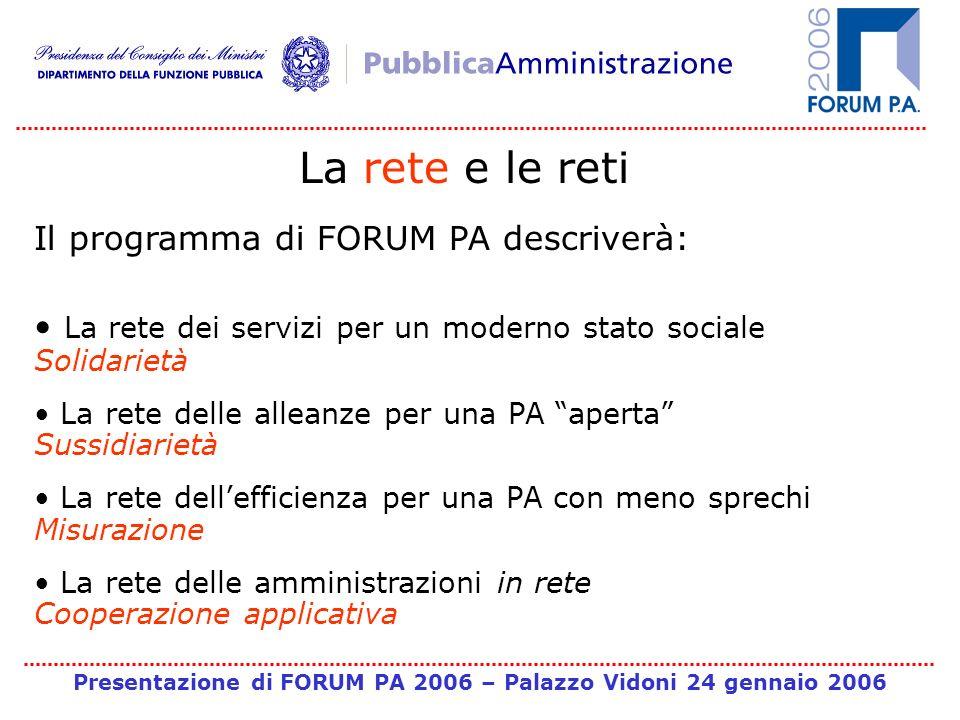 Presentazione di FORUM PA 2006 – Palazzo Vidoni 24 gennaio 2006 La rete e le reti Il programma di FORUM PA descriverà: La rete dei servizi per un mode