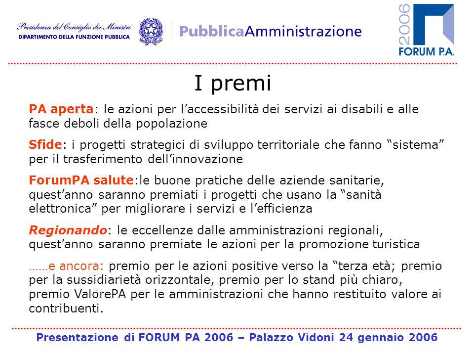 Presentazione di FORUM PA 2006 – Palazzo Vidoni 24 gennaio 2006 I premi PA aperta: le azioni per laccessibilità dei servizi ai disabili e alle fasce d