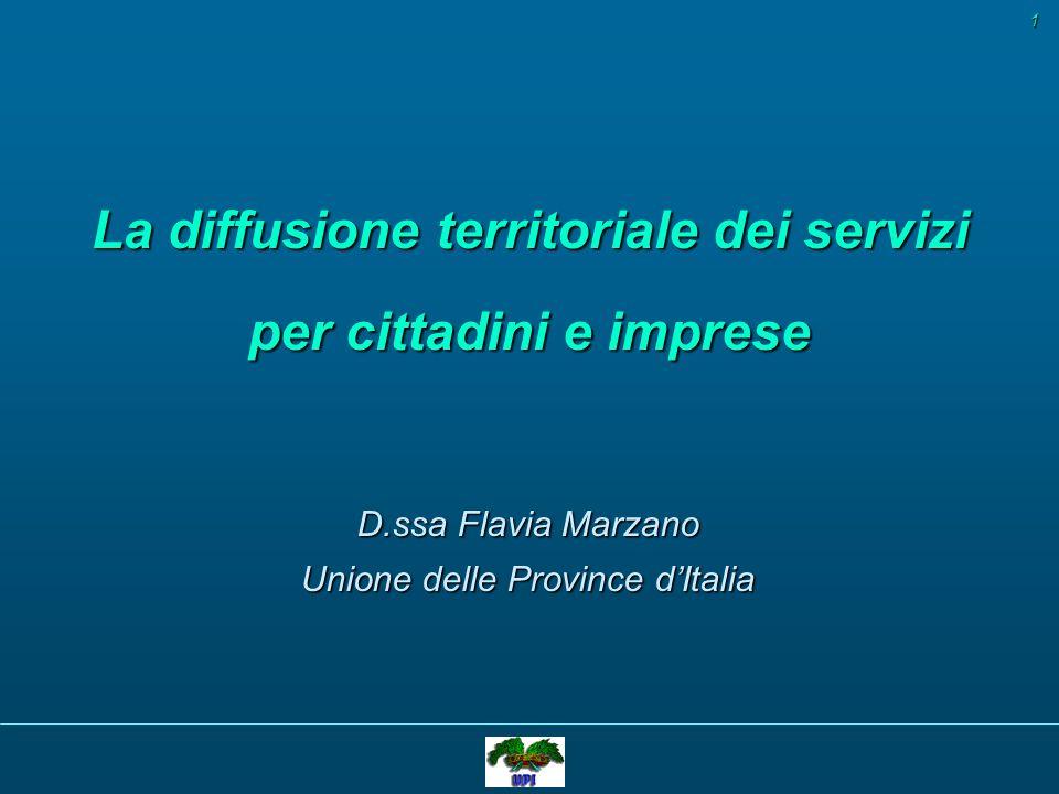 La diffusione territoriale dei servizi per cittadini e imprese D.ssa Flavia Marzano Unione delle Province dItalia 1