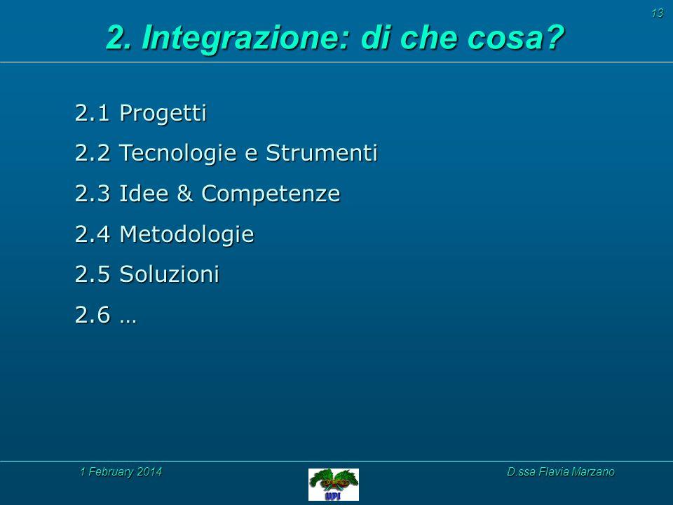 1 February 20141 February 20141 February 2014D.ssa Flavia Marzano 13 2.1 Progetti 2.2 Tecnologie e Strumenti 2.3 Idee & Competenze 2.4 Metodologie 2.5 Soluzioni 2.6 … 2.