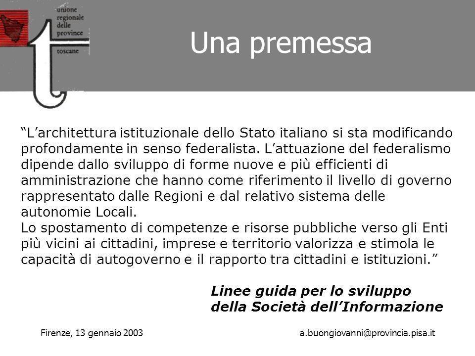 Firenze, 13 gennaio 2003a.buongiovanni@provincia.pisa.it Larchitettura istituzionale dello Stato italiano si sta modificando profondamente in senso federalista.
