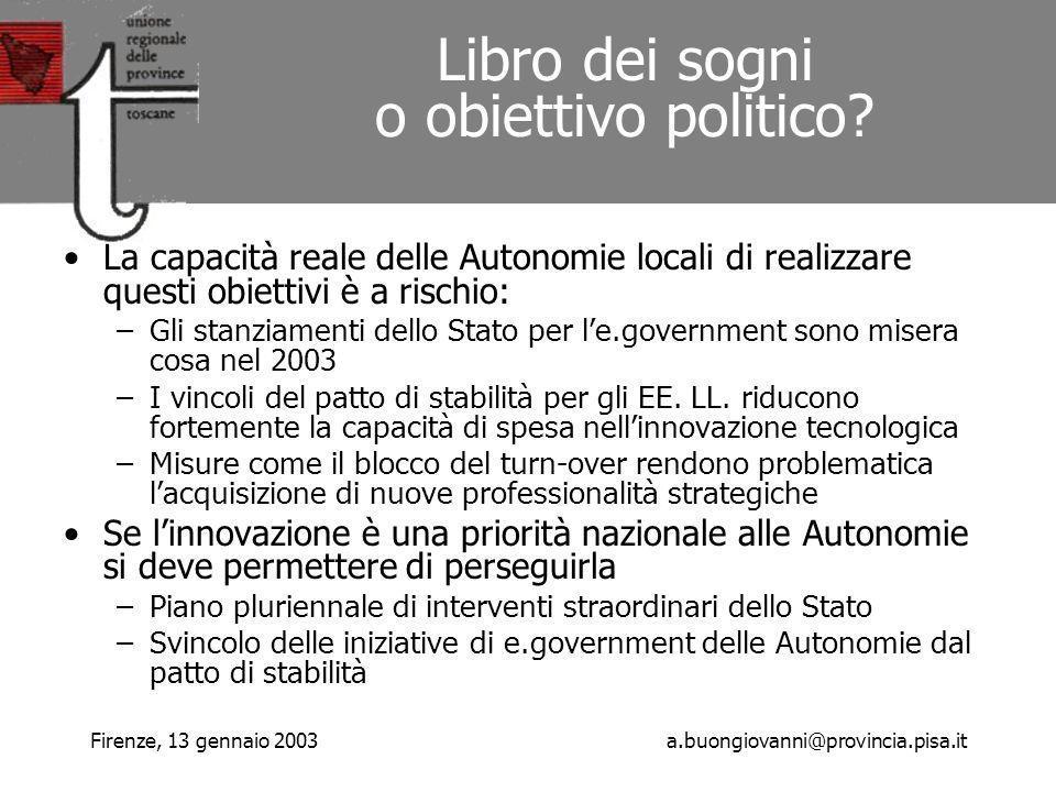 Firenze, 13 gennaio 2003a.buongiovanni@provincia.pisa.it Libro dei sogni o obiettivo politico.