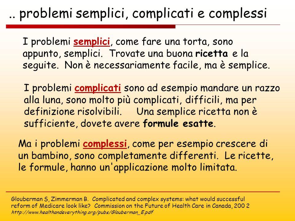 I problemi semplici, come fare una torta, sono appunto, semplici.
