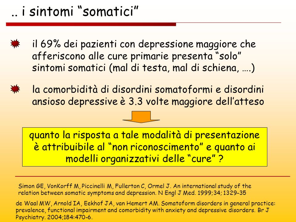 .. i sintomi somatici Simon GE, VonKorff M, Piccinelli M, Fullerton C, Ormel J. An international study of the relation between somatic symptoms and de