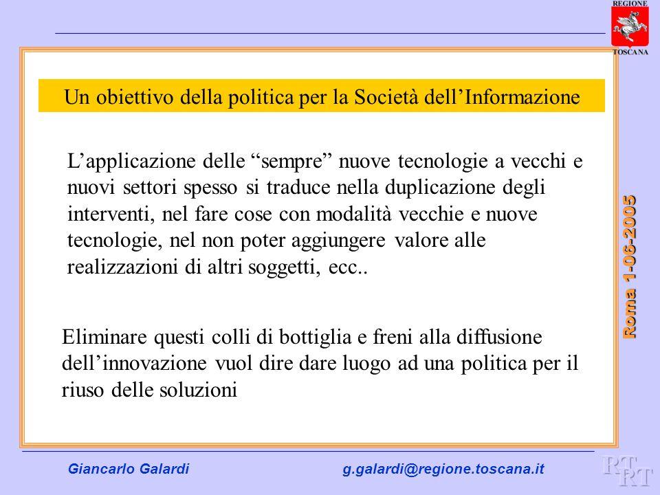 Giancarlo Galardig.galardi@regione.toscana.it Roma 1-06-2005 Un obiettivo della politica per la Società dellInformazione Lapplicazione delle sempre nu