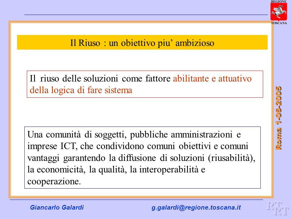 Giancarlo Galardig.galardi@regione.toscana.it Roma 1-06-2005 Il Riuso : un obiettivo piu ambizioso Il riuso delle soluzioni come fattore abilitante e