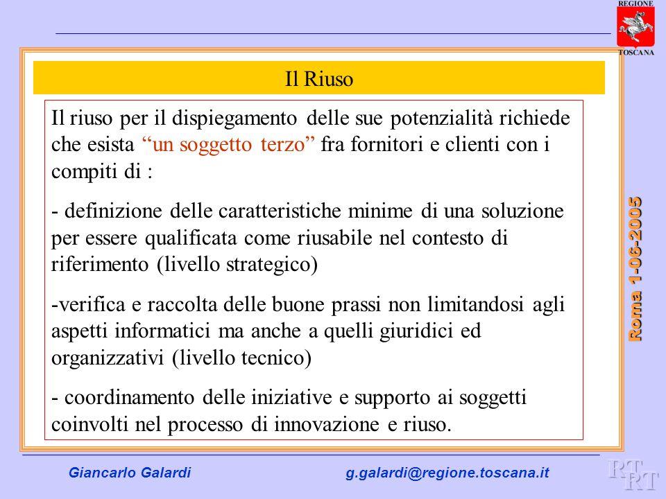 Giancarlo Galardig.galardi@regione.toscana.it Roma 1-06-2005 Il Riuso Il riuso per il dispiegamento delle sue potenzialità richiede che esista un sogg