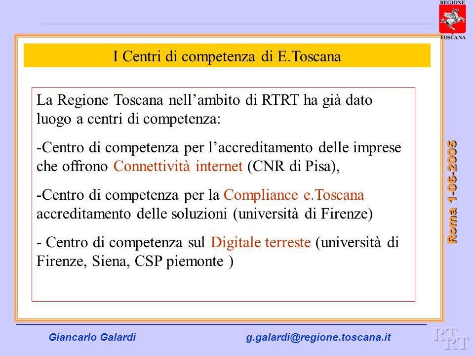 Giancarlo Galardig.galardi@regione.toscana.it Roma 1-06-2005 I Centri di competenza di E.Toscana La Regione Toscana nellambito di RTRT ha già dato luo