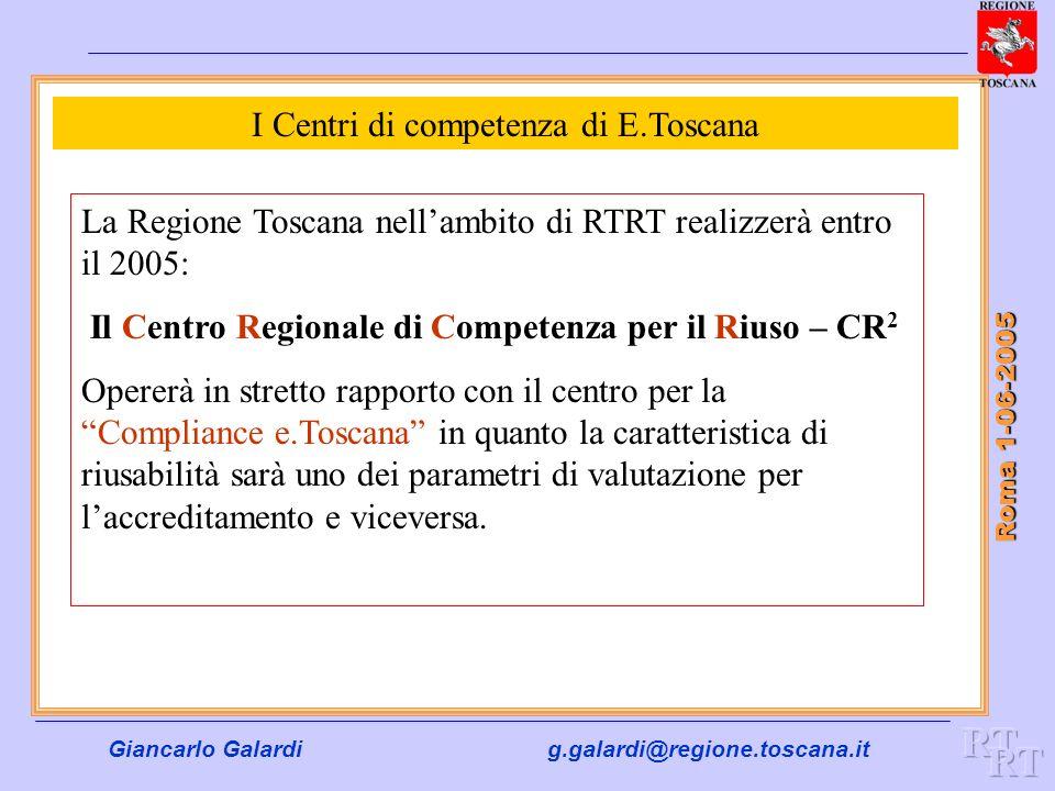 Giancarlo Galardig.galardi@regione.toscana.it Roma 1-06-2005 I Centri di competenza di E.Toscana La Regione Toscana nellambito di RTRT realizzerà entr