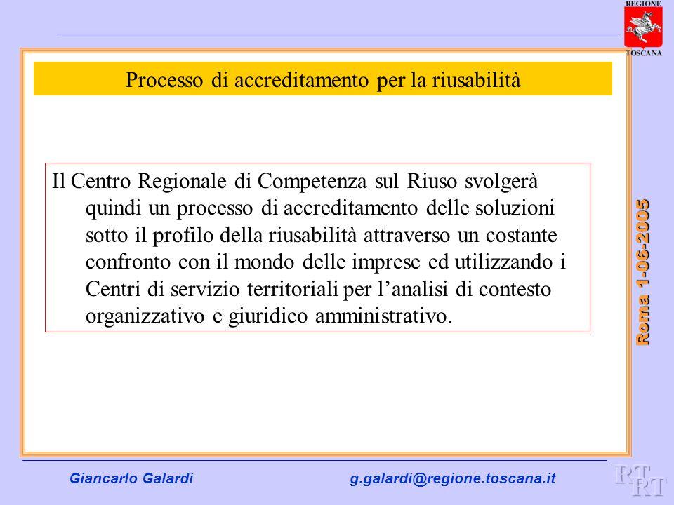 Giancarlo Galardig.galardi@regione.toscana.it Roma 1-06-2005 Processo di accreditamento per la riusabilità Il Centro Regionale di Competenza sul Riuso