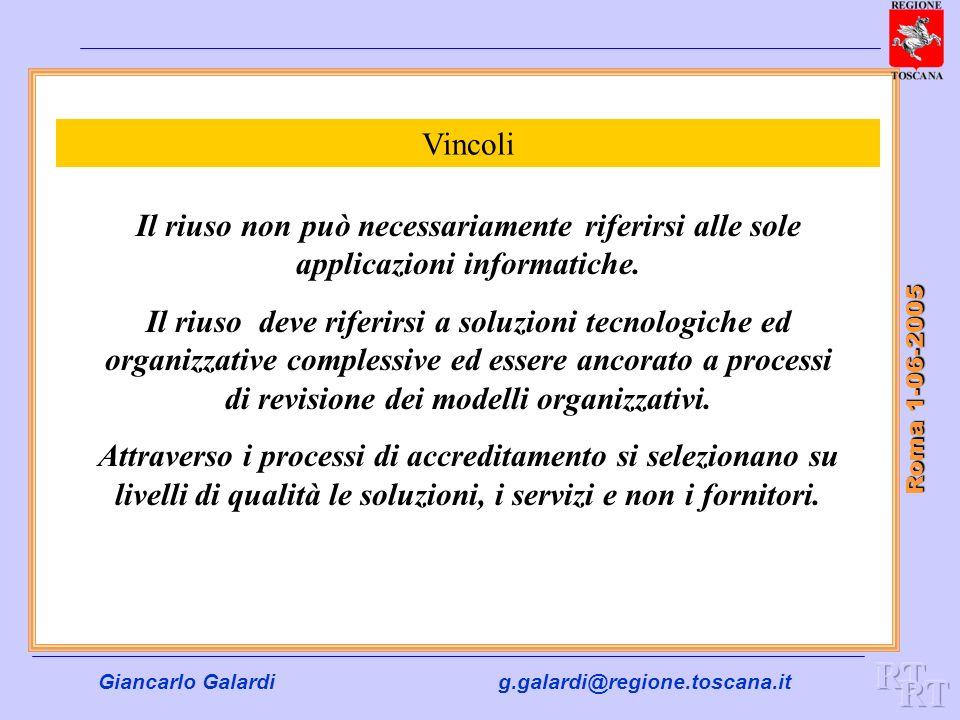 Giancarlo Galardig.galardi@regione.toscana.it Roma 1-06-2005 Vincoli Il riuso non può necessariamente riferirsi alle sole applicazioni informatiche. I