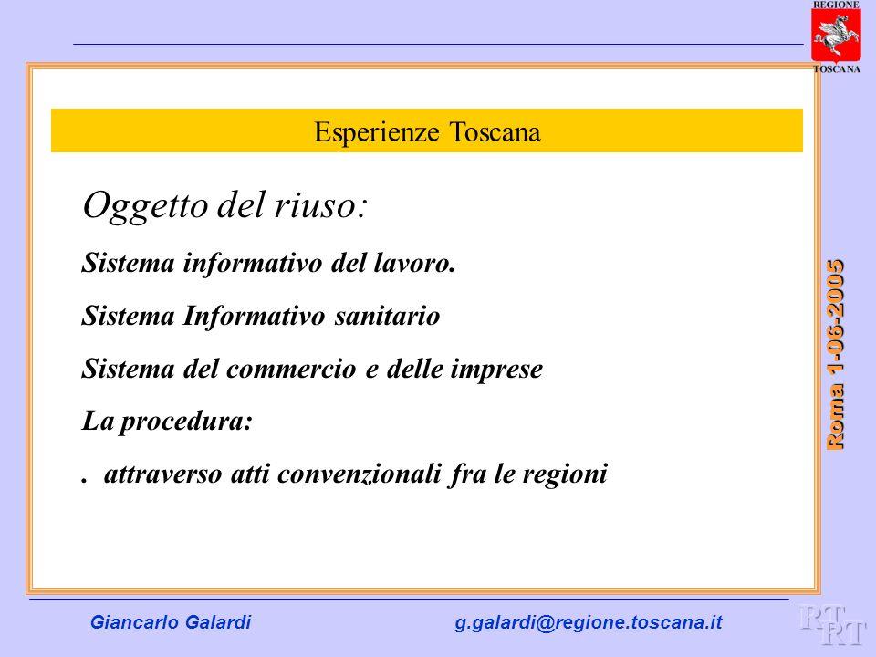 Giancarlo Galardig.galardi@regione.toscana.it Roma 1-06-2005 Esperienze Toscana Oggetto del riuso: Sistema informativo del lavoro. Sistema Informativo