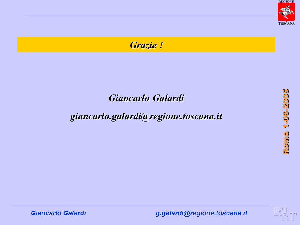 Giancarlo Galardig.galardi@regione.toscana.it Roma 1-06-2005 Grazie ! Giancarlo Galardi giancarlo.galardi@regione.toscana.it