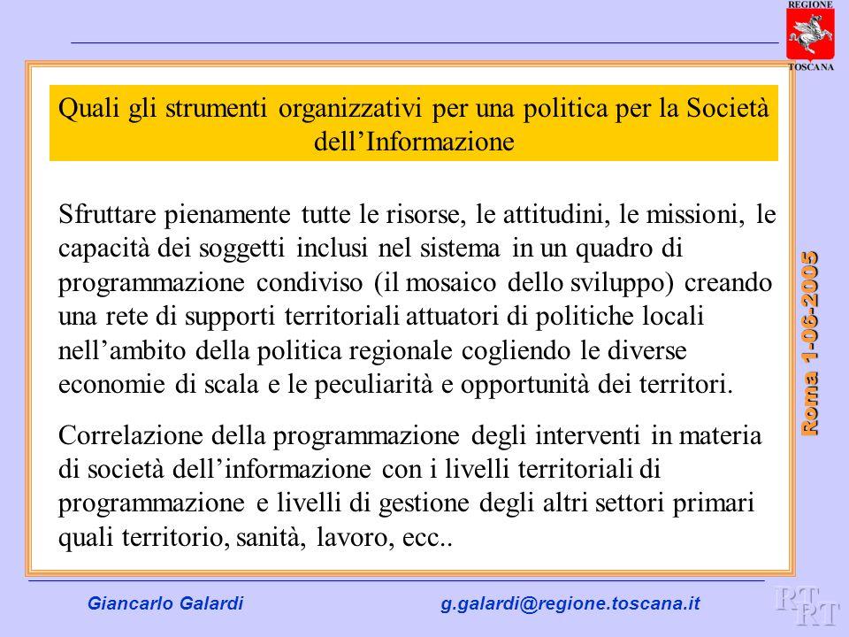 Giancarlo Galardig.galardi@regione.toscana.it Roma 1-06-2005 Quali gli strumenti organizzativi per una politica per la Società dellInformazione Sfrutt