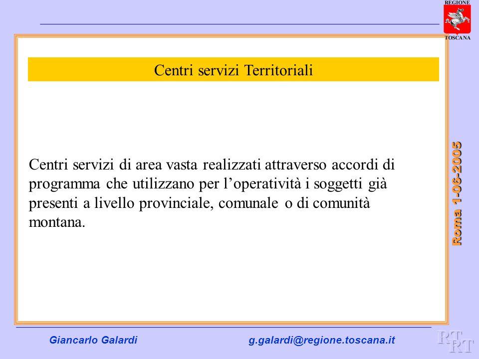 Giancarlo Galardig.galardi@regione.toscana.it Roma 1-06-2005 Centri servizi Territoriali Centri servizi di area vasta realizzati attraverso accordi di