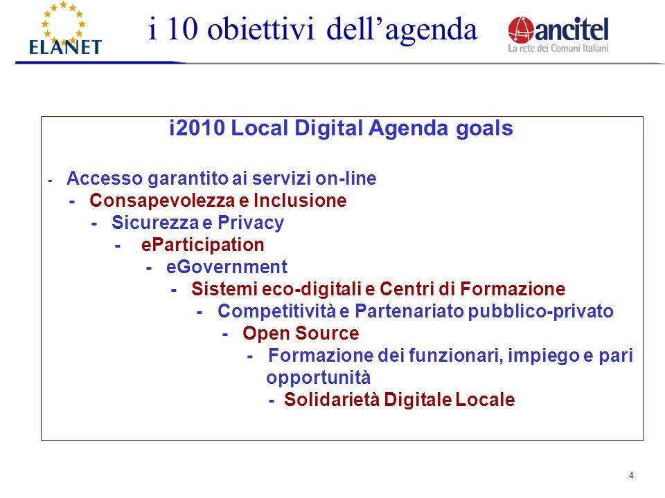 4 i2010 Local Digital Agenda goals - Accesso garantito ai servizi on-line - Consapevolezza e Inclusione - Sicurezza e Privacy - eParticipation - eGovernment - Sistemi eco-digitali e Centri di Formazione - Competitività e Partenariato pubblico-privato - Open Source - Formazione dei funzionari, impiego e pari opportunità - Solidarietà Digitale Locale i 10 obiettivi dellagenda