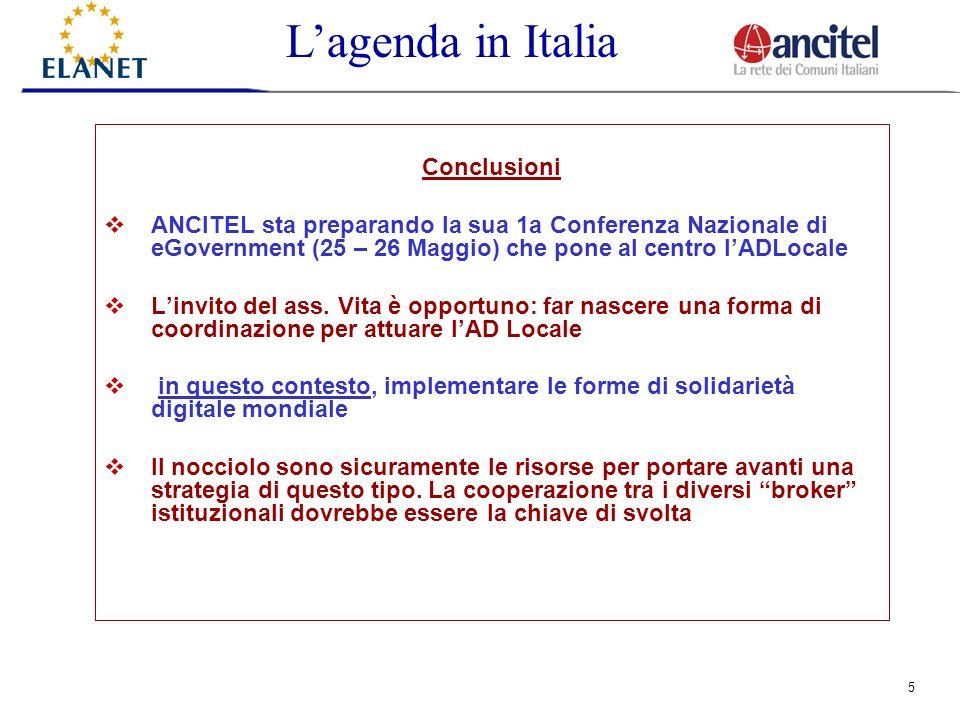 5 Conclusioni ANCITEL sta preparando la sua 1a Conferenza Nazionale di eGovernment (25 – 26 Maggio) che pone al centro lADLocale Linvito del ass.