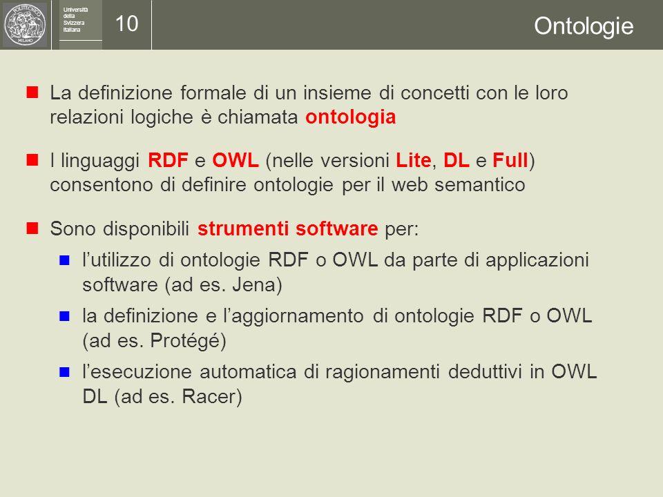 Università della Svizzera italiana 9 Logica descrittiva I sistemi di ragionamento automatico si basano sulle tecniche sviluppate nellambito della logi