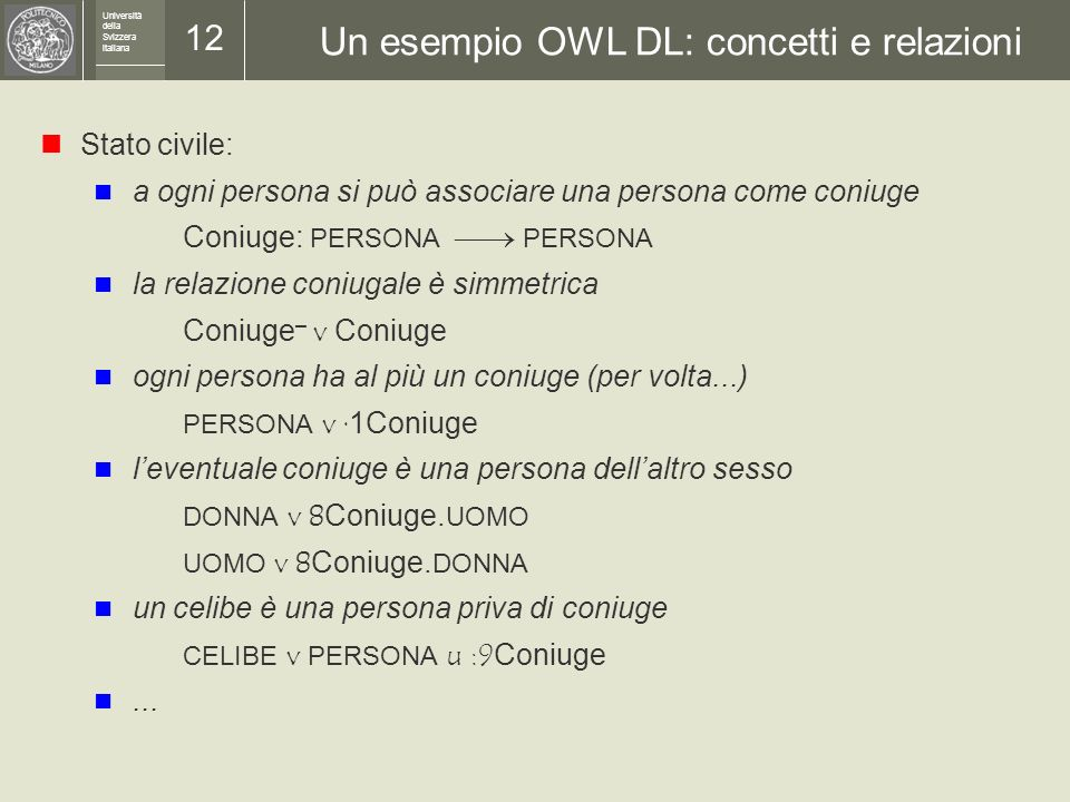 Università della Svizzera italiana 11 Un esempio OWL DL: concetti e relazioni Persone e sesso: il sesso può essere femmina o maschio SESSO ´ {f,m} il