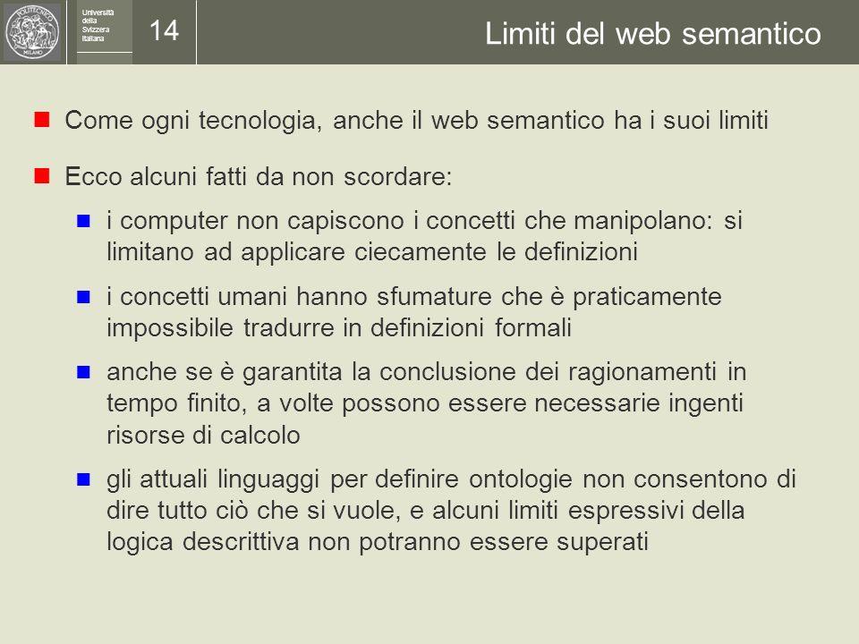 Università della Svizzera italiana 13 Un esempio OWL DL: dati e deduzioni Dati: P0036 è coniugato con P0145 Coniuge( P0036, P0145 ) P0036 è una donna