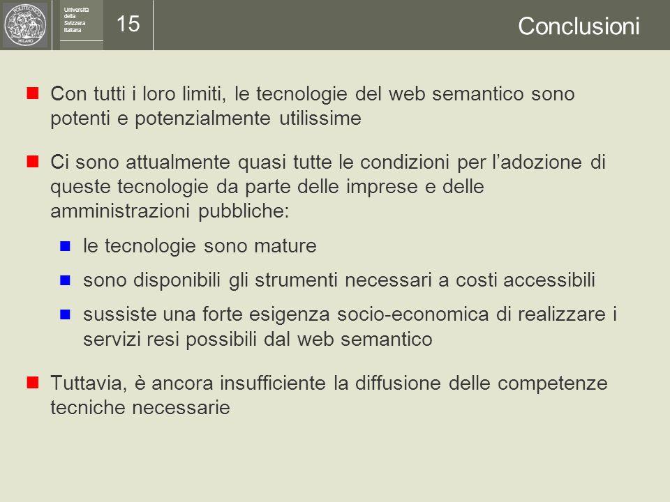 Università della Svizzera italiana 14 Limiti del web semantico Come ogni tecnologia, anche il web semantico ha i suoi limiti Ecco alcuni fatti da non