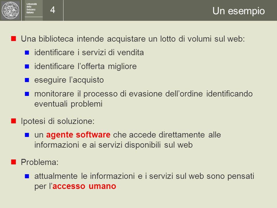 Università della Svizzera italiana 3 Muoversi nel web I problemi fondamentali del web: trovare i luoghi pertinenti sfruttare le informazioni e i servi