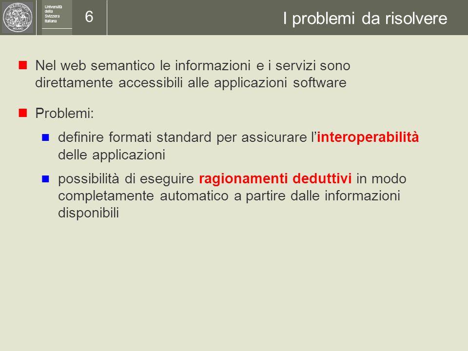 Università della Svizzera italiana 5 Il web semantico La soluzione: il web semantico Che cosè il web semantico.