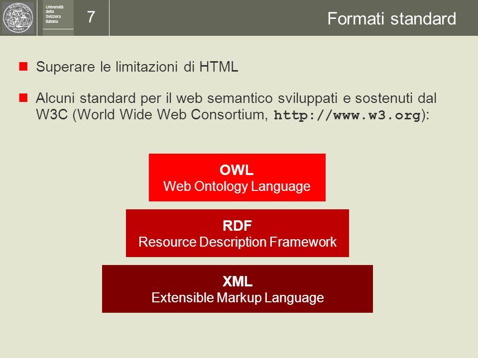 Università della Svizzera italiana 6 I problemi da risolvere Nel web semantico le informazioni e i servizi sono direttamente accessibili alle applicaz